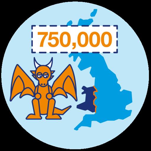 750,000 steps